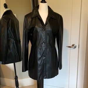 Danier black leather jacket with removable lining